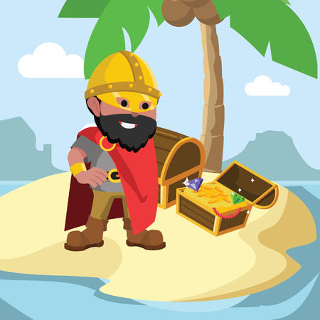 African viking leader with treasure– stock illustration