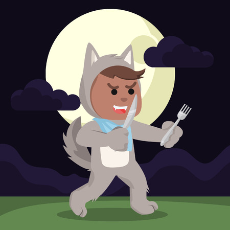 African werewolf hungry holding knife and fork– stock illustration Vectores
