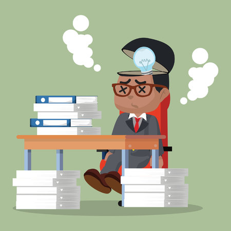 African businessman's idea stopped working stock illustration