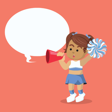 African cheerleader cheering with megaphone and speech bubble stock illustration
