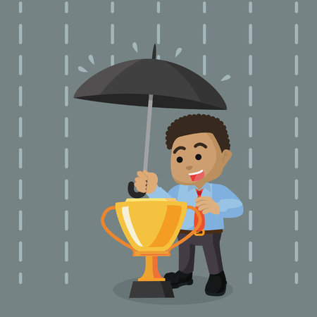 African businessman covering trophy with umbrella stock illustration