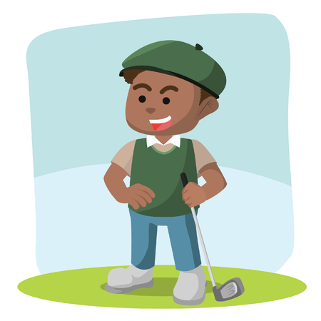 African golf player illustration stock illustration.