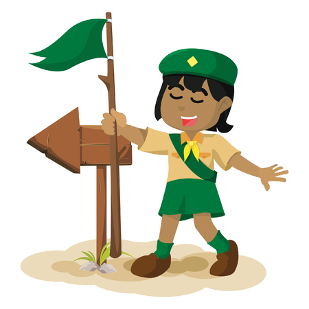 African girl scout following the arrow sign stock illustration.