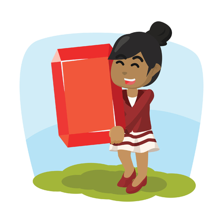 African businesswoman holding a big ruby stock illustration. Ilustrace