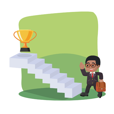 African businessman taking stair to trophy stock illustration. Banque d'images - 92789016