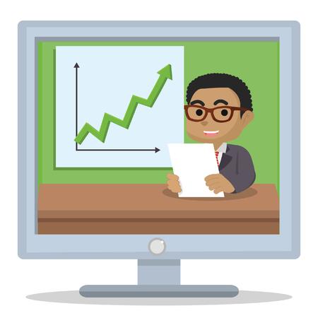 Afrikaanse zakenman rapportage hoge inkomsten â ? ? stock illustratie Stock Illustratie