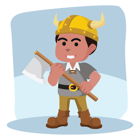 African viking holding axe– stock illustration