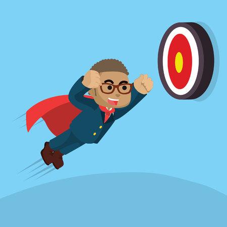 African businessman super trying to hit target– stock illustration Illustration