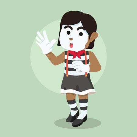 소녀 pantomime 그림을 수행합니다. 일러스트