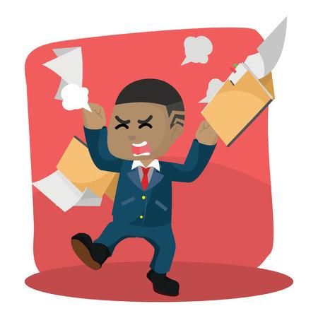 アフリカのビジネスマンは、フォルダを飛んでベクトルイラストに怒っています