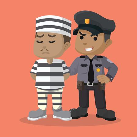 有罪判決を受けたストックイラストを警備するアフリカの警察。