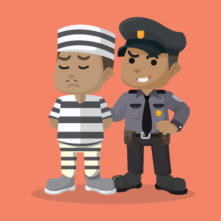 African police guarding a convict stock illustration.