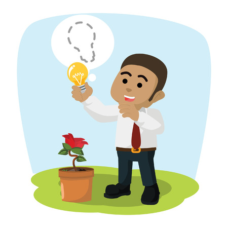 African businessman harvesting bulb stock illustration.