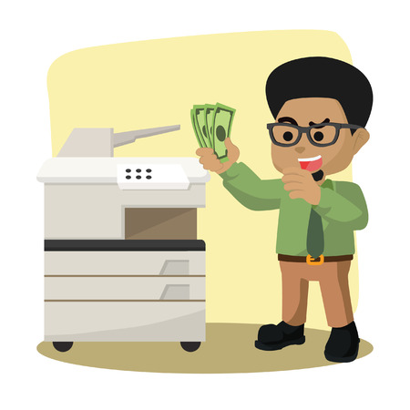 African businessman want to copy money– stock illustration