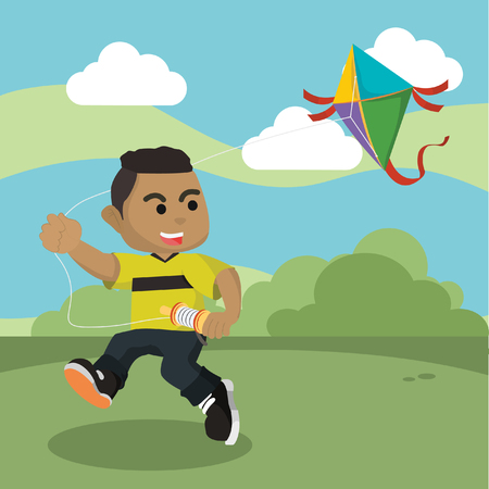 African boy playing kite in park– stock illustration Illustration