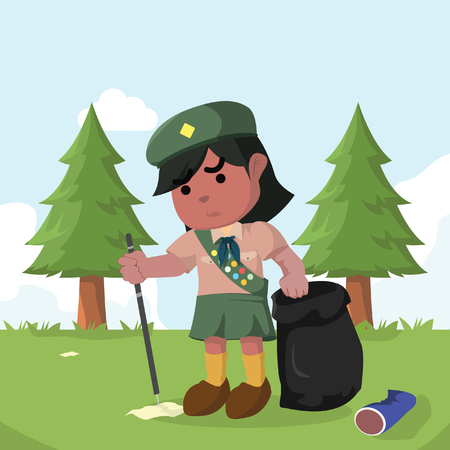 African scout girl keeping forest clean– stock illustration