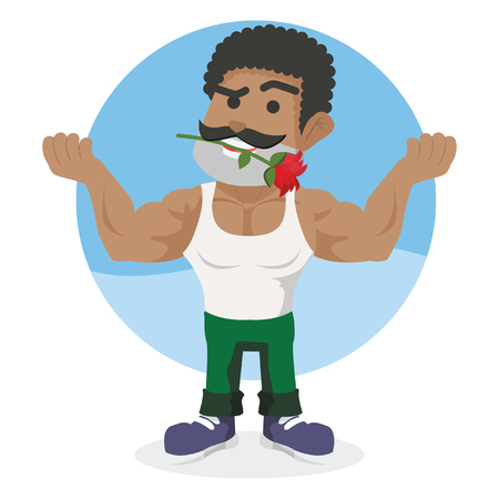 African muscled guy holding rose flower with his mouth– stock illustration