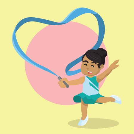 African ribbon dancer making heart shaped with her ribbon– stock illustration