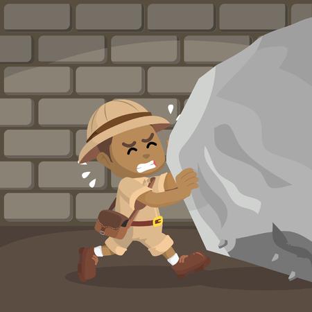 African boy explorer pushing boulder– stock illustration