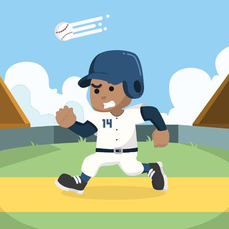 African baseball player running to base– stock illustration