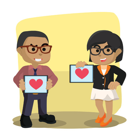 African businessman and woman holding heart pad– stock illustration. 向量圖像