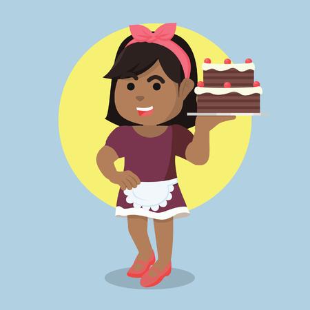 """Afrikaanse huisvrouw die cakeâ ? """"voorraadillustratie dienen Stock Illustratie"""