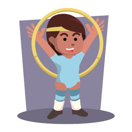 African female holding hoola hoop– stock illustration Ilustração
