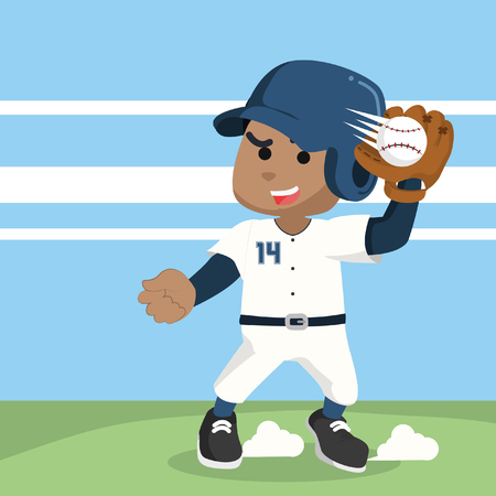 African baseball player catching ball– stock illustration