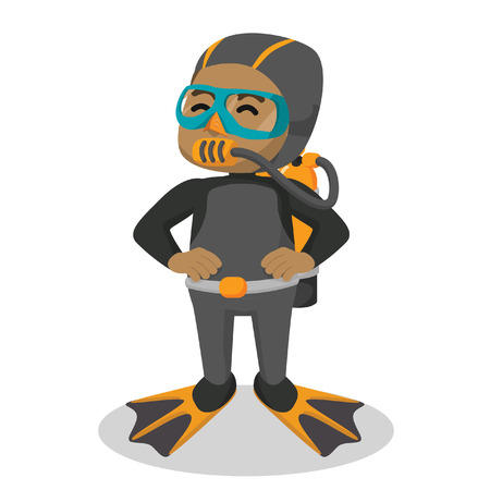 African boy with diving suit– stock illustration