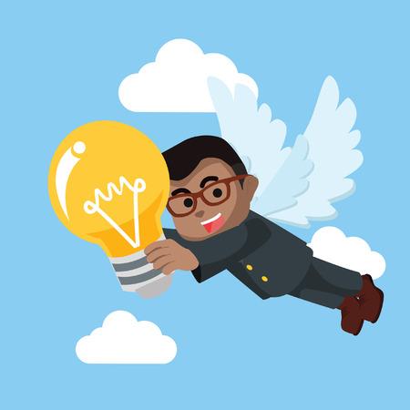 African businessman angel bring bulb– stock illustration Ilustrace