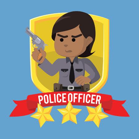 African policewoman emblem illustration design– stock illustration