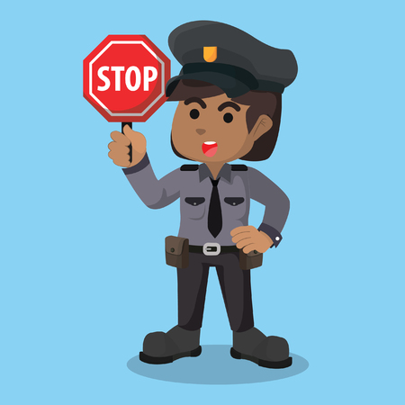 African female police holding stop sign– stock illustration Stock Illustratie