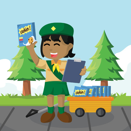 African girl scout selling cookies– stock illustration