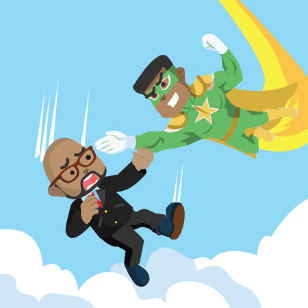 African super hero catching falling African man vector illustration