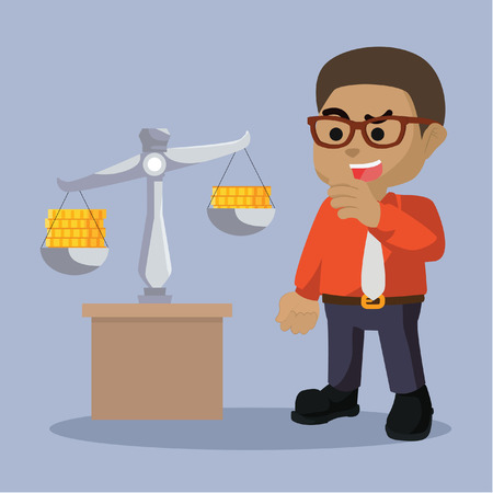 Businessman scaling coin illustration.