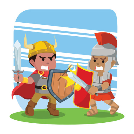 Roman soldier fight with viking illustration.