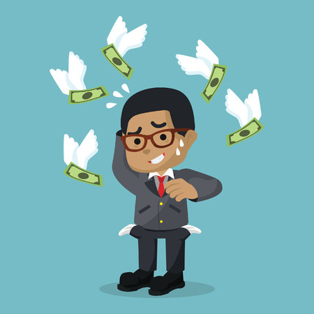 Businessman dont have any money in pocket illustration.