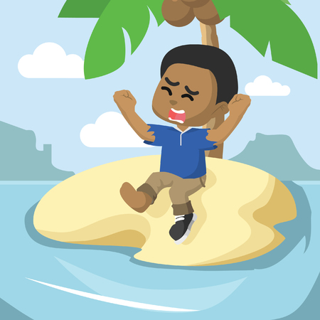 Boy stranded on an island. Illustration