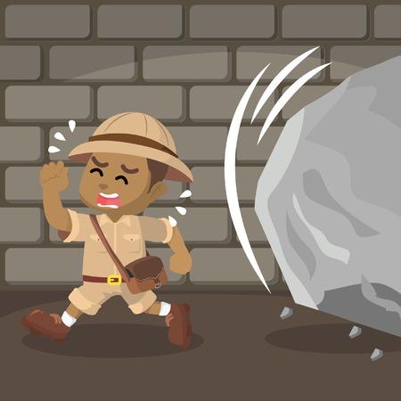 African boy explorer run from boulder– stock illustration