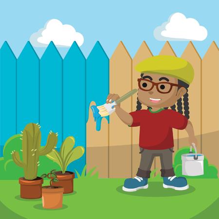 African boy painting fence cartoon illustration– stock illustration Иллюстрация