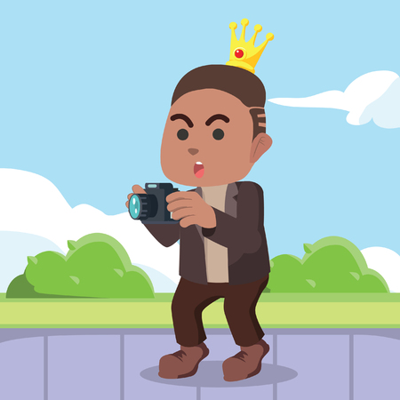 Modern prince holding camera illustration.