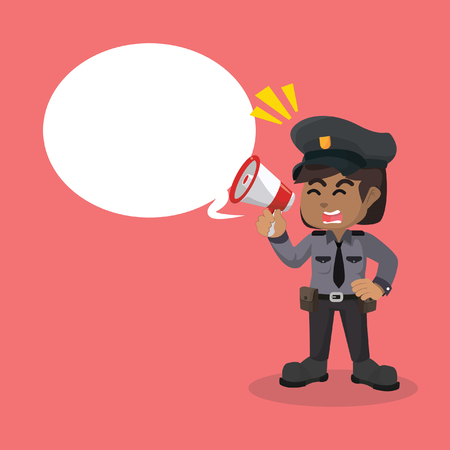 African police women officer with megaphone and callout– stock illustration 向量圖像