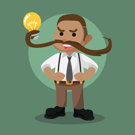 Mustache power guy lifting bulb illustration. Illustration