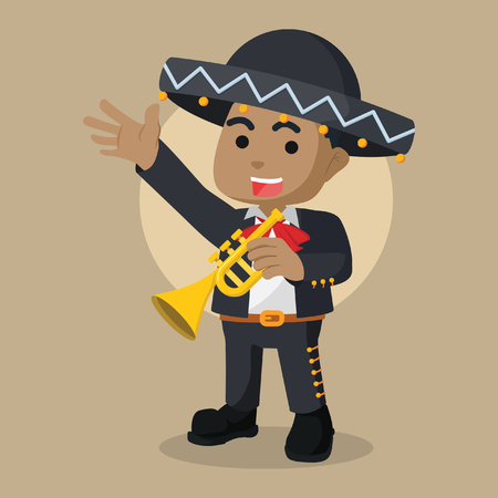 Boy mariachi trumpet player illustration design.