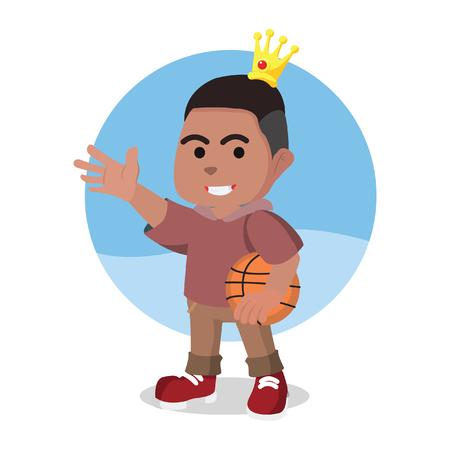 Modern prince holding basket ball illustration. Illusztráció