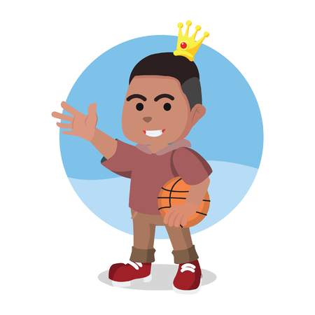 Modern prince holding basket ball illustration. Illustration