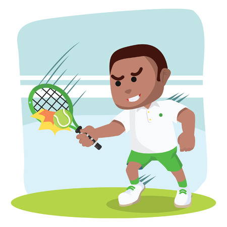Male tennis player repelling ball illustration.