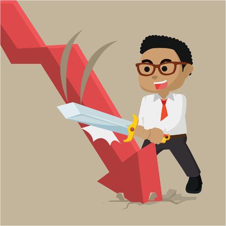 Businessman destroying down ward graphic illustration. Illustration