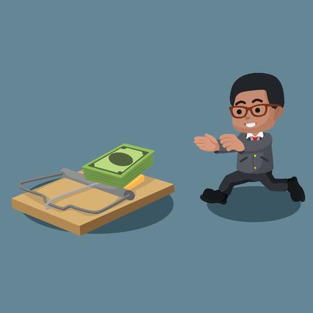Businessman running right into trap illustration.
