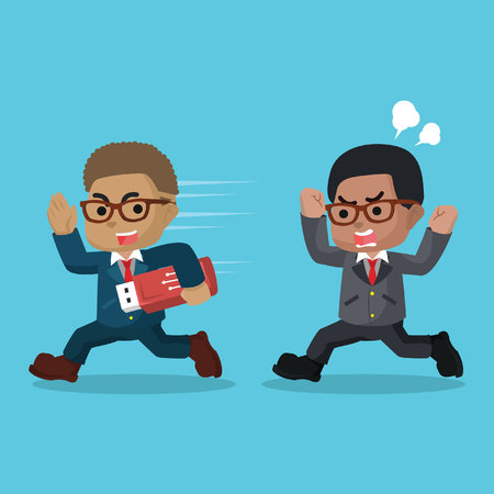 African businessman stealing data with flashdisk– stock illustration Иллюстрация